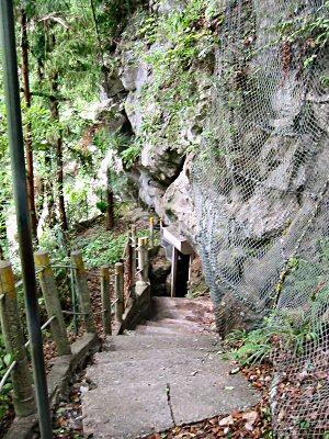 鍾乳洞の入り口は少し下っていったところ。 つまり、竪穴の底から上に向かって巡回するかたちになっている。