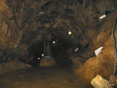 洞内の鍾乳石はあまり綺麗ではない。 照明設備や洞内解説システムの配管も雑然とした印象。