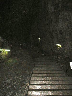 大広間の階段。 坑道という感じである。