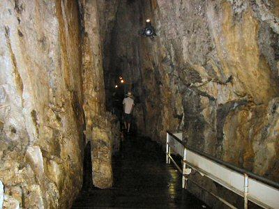縦に走る断層面のような割れ目にそって鍾乳洞が形成されている。 通路は地下水流を暗渠にして作ったようなかたちで、地底の渓谷に沿って続く。