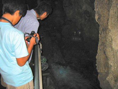 水流はかなりの勢いで流れ、水音が洞内に響く。 所々に小滝が現れる。