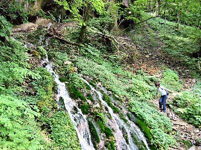 白骨温泉「竜神の滝」。 「滝」というしろものでもないが、洞穴から流出しているので一見の価値が。