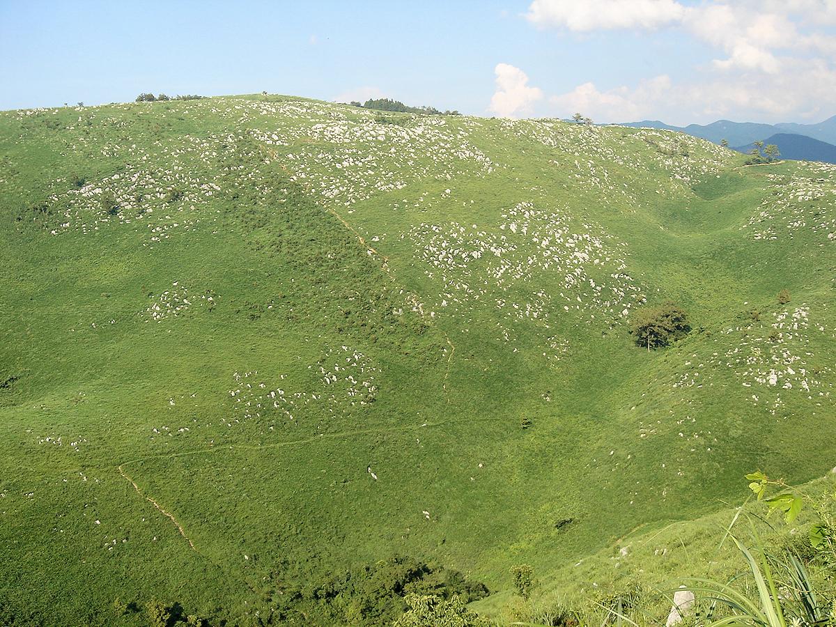 帰水ウバーレの向こうには、カレンフェルトが散在する真名ケ岳。