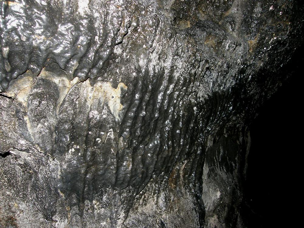 肋骨状溶岩。 鍾乳洞を見慣れた眼には、黒くて硬くててかてかした岩は異質な感じがする。