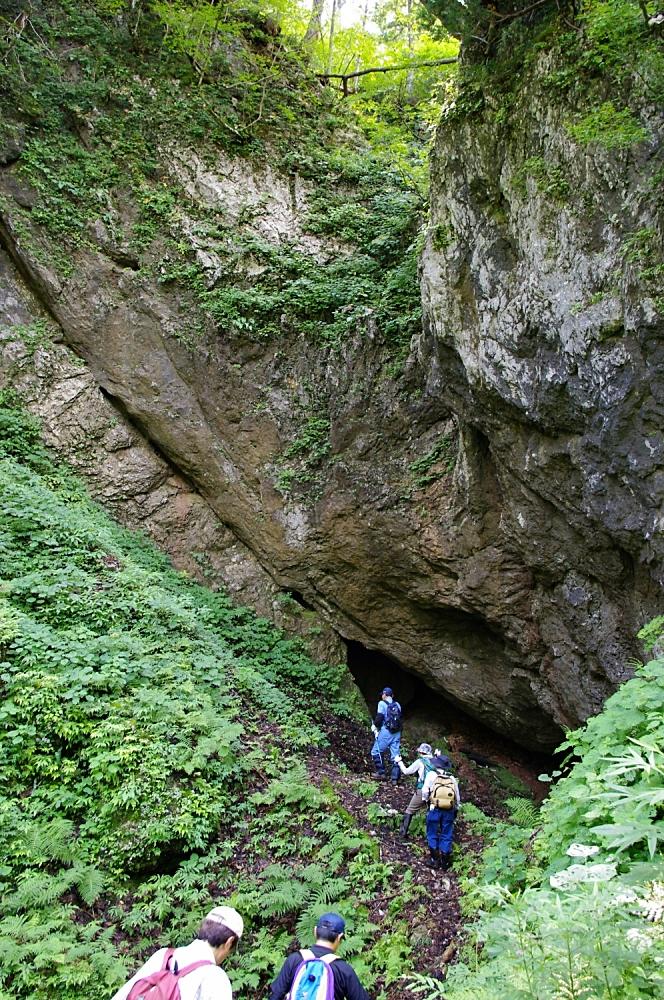 通天洞はドリーネの中に降りた側壁部分にある