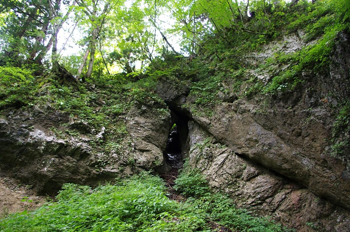 ドリーネの側壁には、古い鍾乳洞の残骸らしき地形も