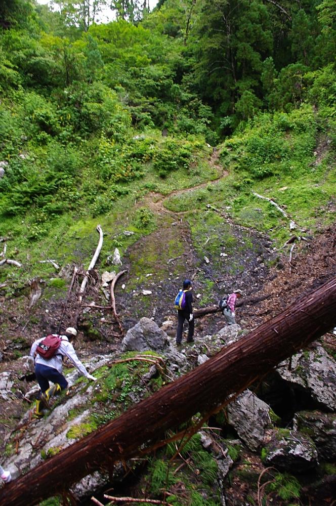 滑りやすい岩を乗り越え、ドリーネの底を横断。