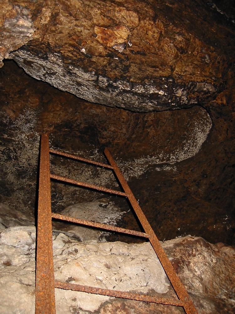 何故か放置されたハシゴがあったので上がってみる。 岩面がカビだらけで陰惨な雰囲気。